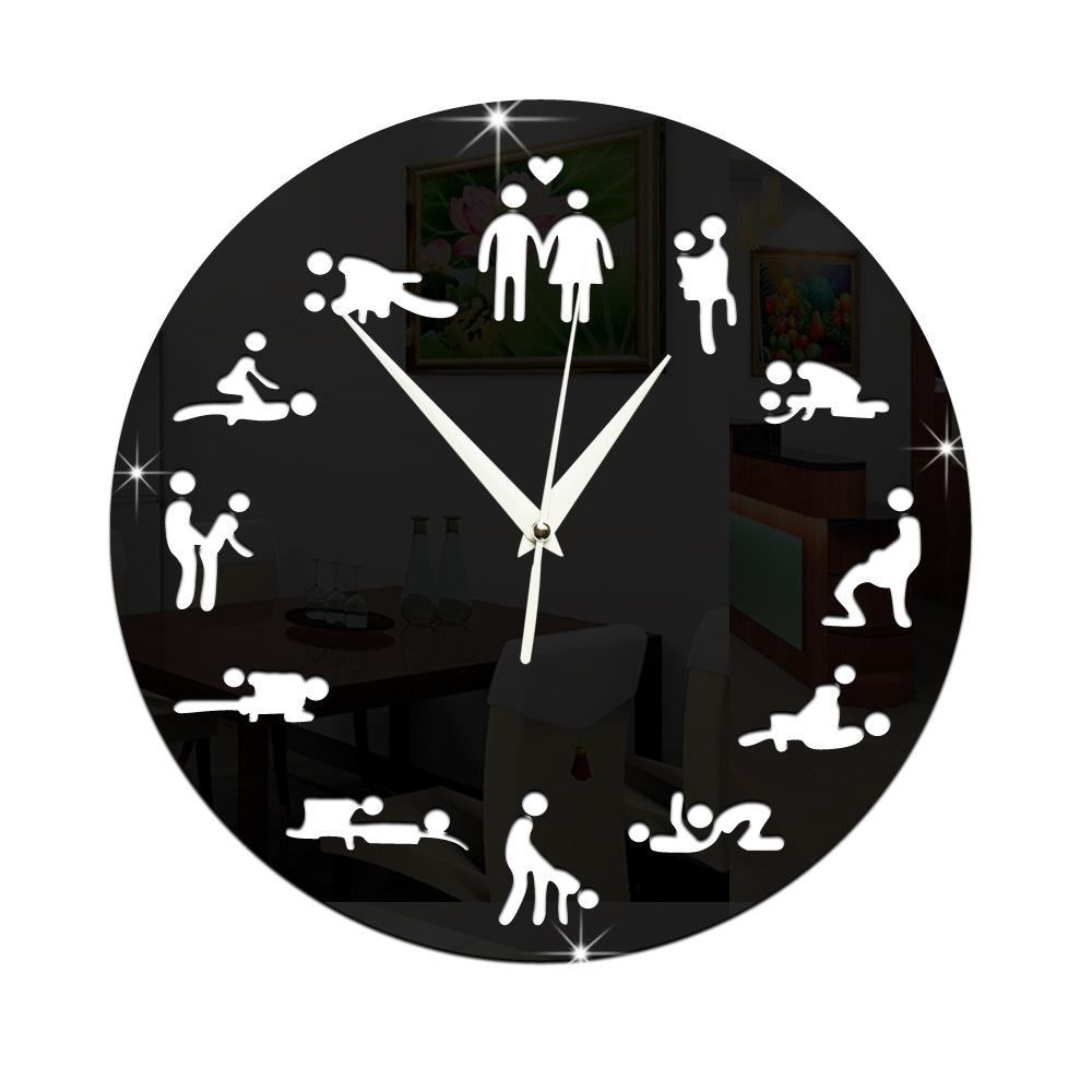 12 Position Patterns Funny Circular Bedroom Wall Clocks