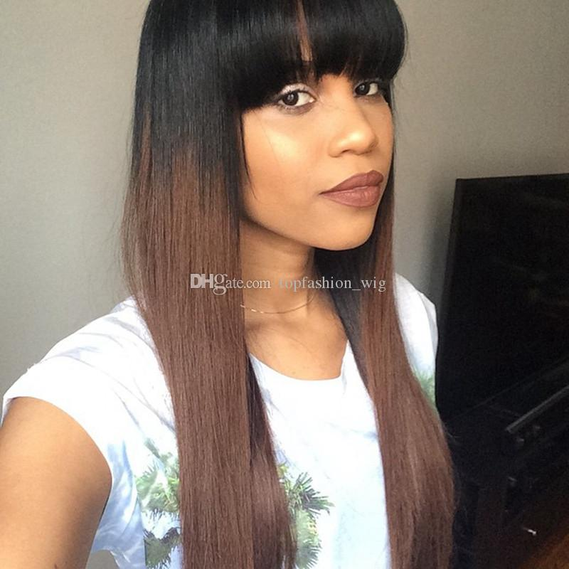 Natural Straight Human Hair Long Full Lace Wigs Brazilian Peruvian Indian Hair Black Ombre Brown Lace Front Wigs With Bangs Wholesale