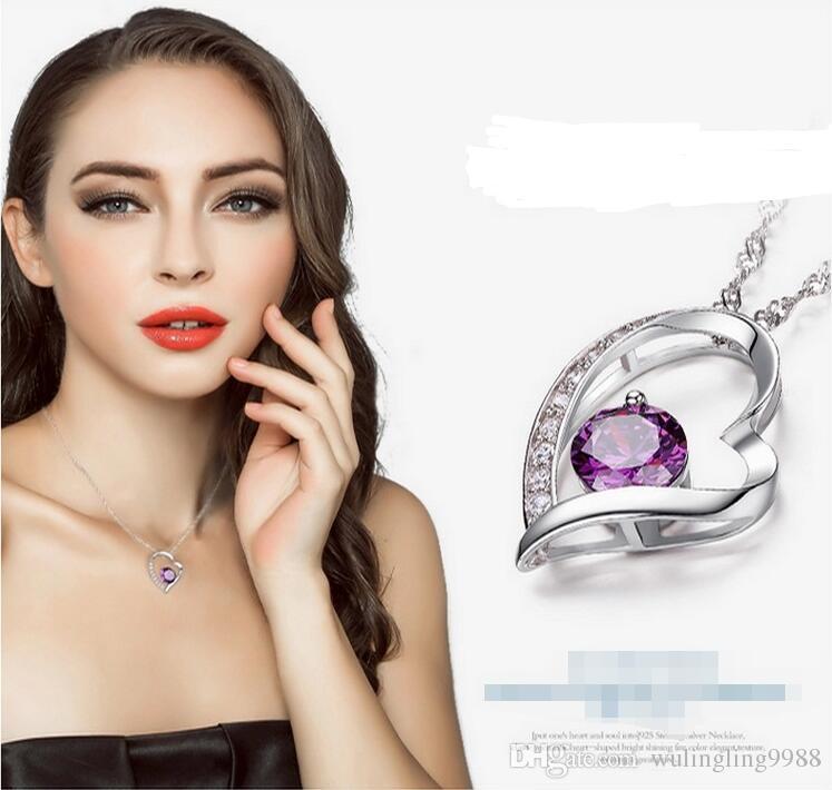 Österreichischen Kristall Diamanten Liebe Herz Anhänger Anweisung Halskette Mode Kristall Halsketten Liebe Herz Halskette Swarovski Elements Schmuck