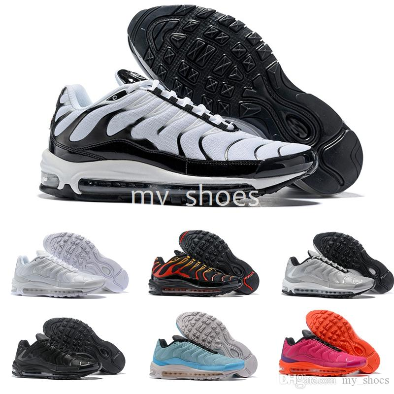 Abbigliamento Running 2018 New 97 PLUS Tn Mix Scarpe Da Corsa Uomo 97TN  Scarpe Da Ginnastica Esterni Maxes Nero Bianco Me Scarpe Sportive Eur 40 46  Scarpe ... 710ddc3ed74