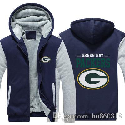 brand new ba0d1 2107c NEW Green Bay Packers Sweatshirt big team logo Warm Fleece Thicken Jacket  Zipper Coat Hoodie & Sweatshirts Up-to-date Jackets