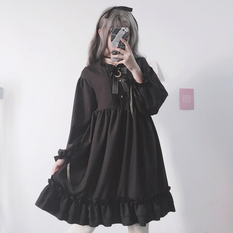 Großhandel Harajuku Gothic Lolita Schwarz Damen Kleid Mit Sternen Knöpfe  Japanische Spitze Bis Langen Ärmeln Chiffon Rüschen Teen Mädchen Kleider  Von ... 889e6e5add