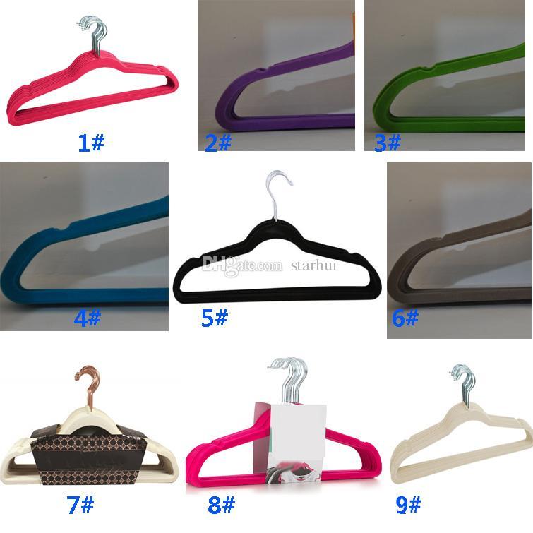 360 grados Swivel Velvet Suit Hangers Racks Non-Marking Space Saving Hangers para Pant Bar Ropa Ropa Traje Ropa Negro Rojo WX9-634