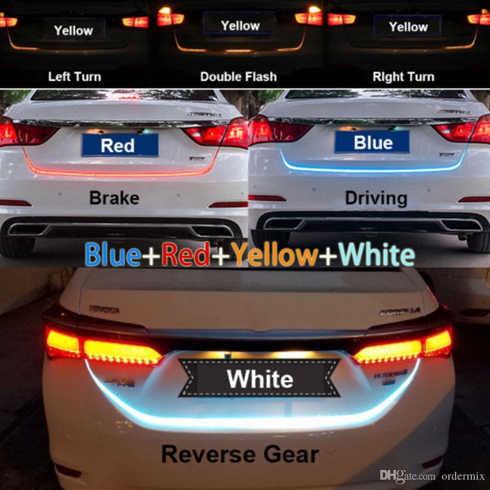 1.2m 12V 4 색 RGB 흐름 유형 LED 자동차 뒷문 스트립 방수 브레이크 운전 방향 신호등 스타일링 높은 품질