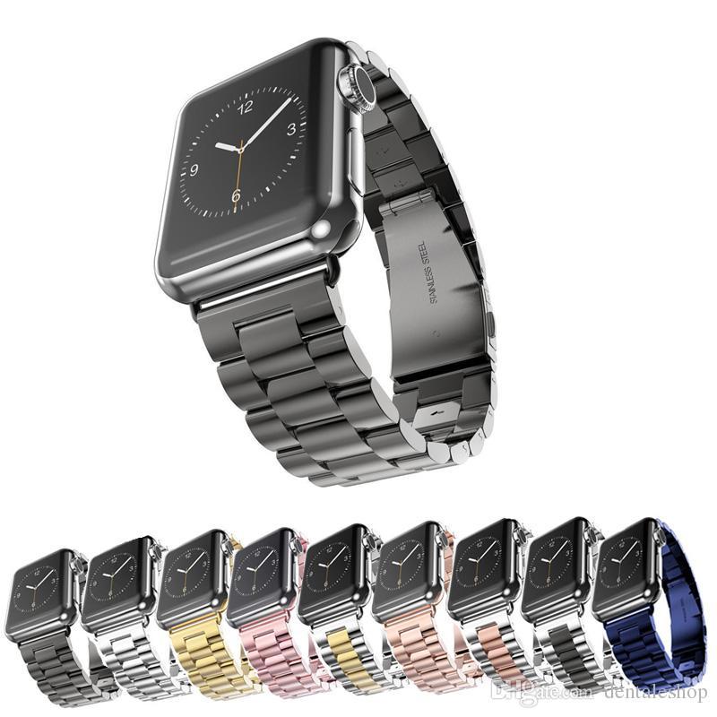 9fe88a1cb50 Compre Brand New Pulseira De Aço Inoxidável Pulseira Pulseiras Com Conector  Do Adaptador Para Apple Watch Series 1 2 3 IWatch 38mm   42mm De  Dentaleshop