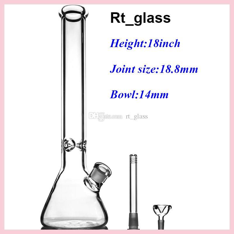 tubo de agua de vidrio, vaso de precipitados de 9 mm Bongs 18 pulgadas con elefante Conjunto Super pesado tubo de vidrio plataforma petrolera con accesorios para fumar