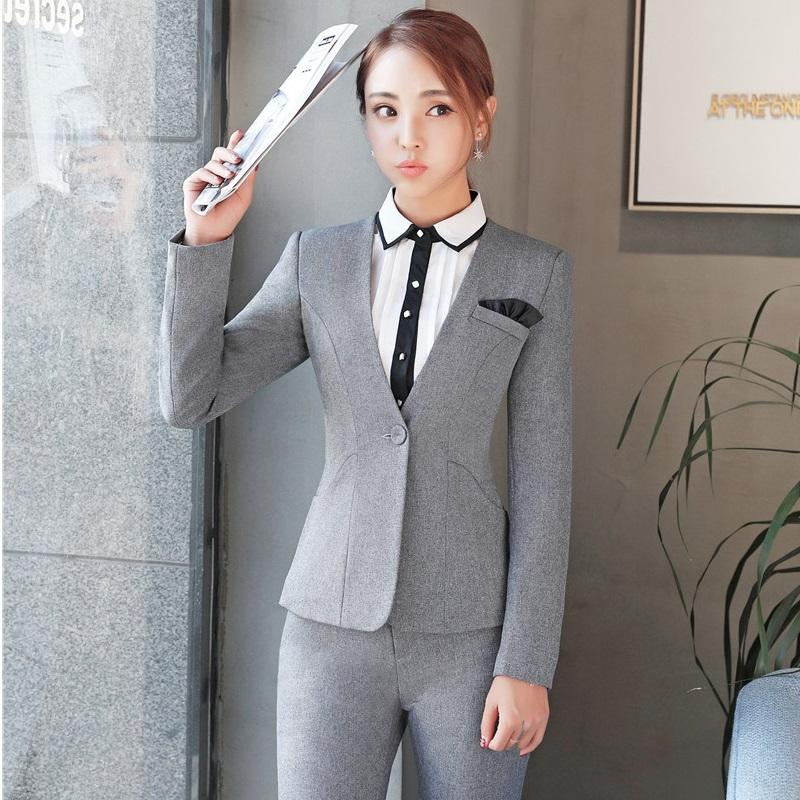 85a6e1b7798 2019 New Autumn And Winter Formal Pantsuits With Jackets And Pants For Ladies  Professional Blazers Trousers Set Plus Size 4XL Grey From Longmian