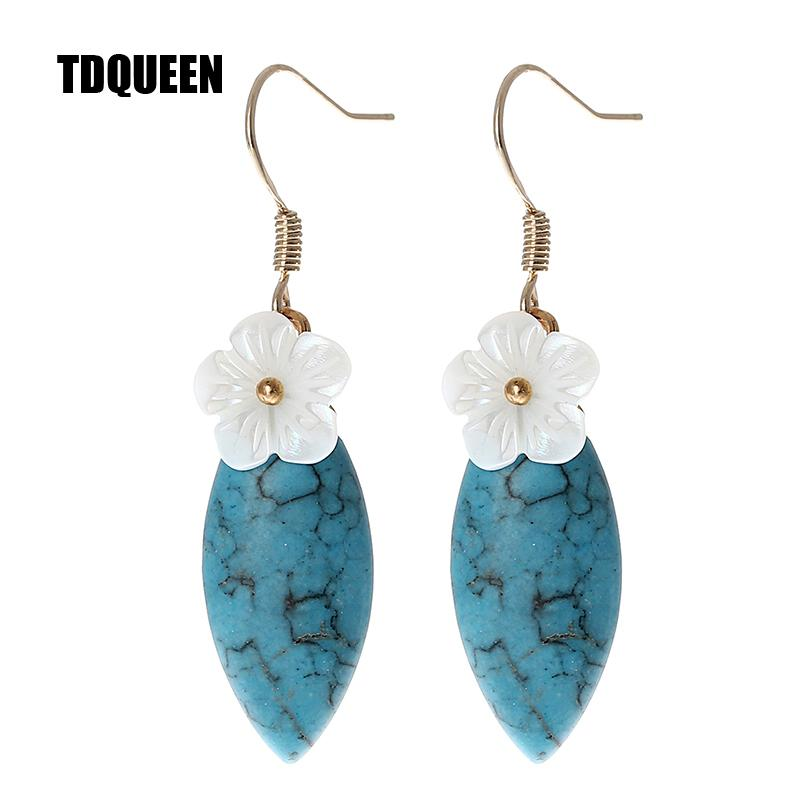 39cac0239 TDQUEEN Natural Stone Drop Earrings Blue And Green Color Trending ...