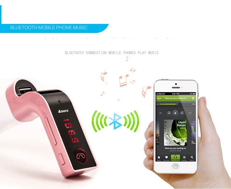 NOT ORIGINAL CAR G7 Bluetooth Car Kit Handsfree FM Transmitter Radio MP3 Player USB Charger AUX TF Cards Slots Wireless Universal /