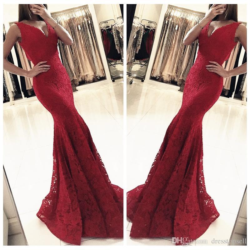 2ac83b71b9 Burgundy 2018 Prom Dresses Mermaid Deep V Neck Full Lace Sexy Women ...