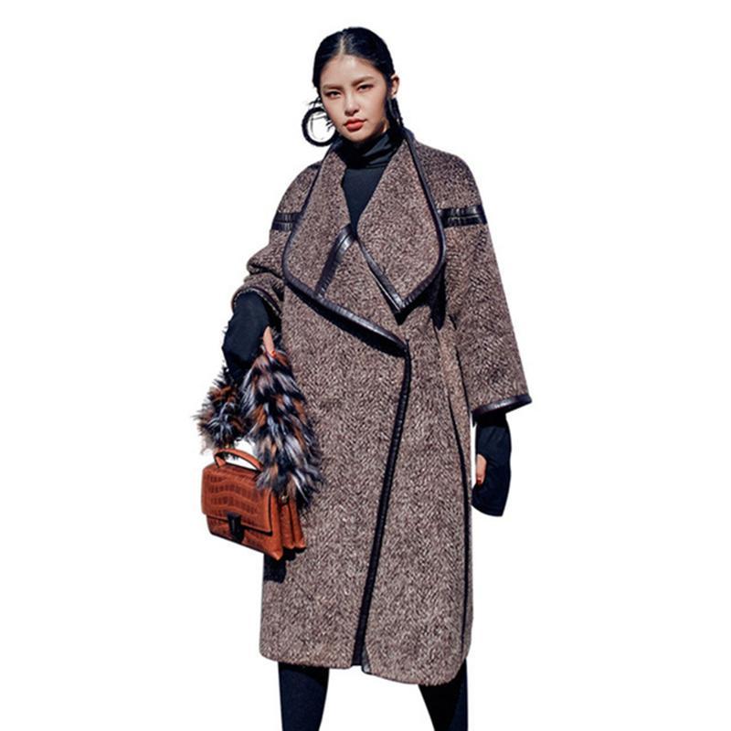 Mujer Otoño Invierno Abrigo de lana gruesa Moda Vintage Manga tres cuartos  Mujer Chaqueta de lana Casual Loose Plus Size prendas de vestir exteriores