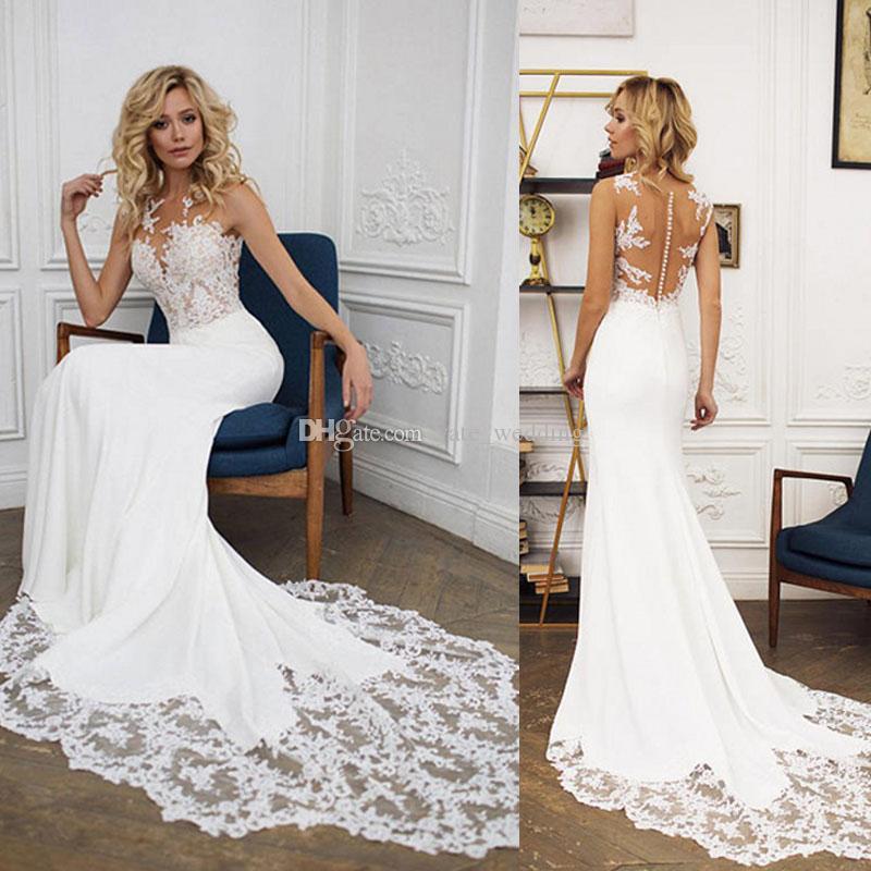 compre sirena vestidos de novia cuello sin mangas sin mangas ilusión