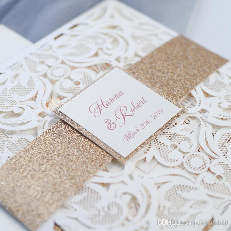 Rose Gold Glitter Wedding Invitations 2019 Luxury Ivory Shimmy Laser ...