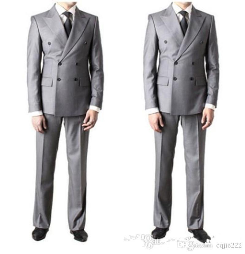 2018 Nouveau Double-Breast Side Vent Gris Clair Groom Tuxedos Peak Revers Groomsmen Hommes De Mariage Tuxedos Costumes De Bal Veste + Pantalon + Cravate