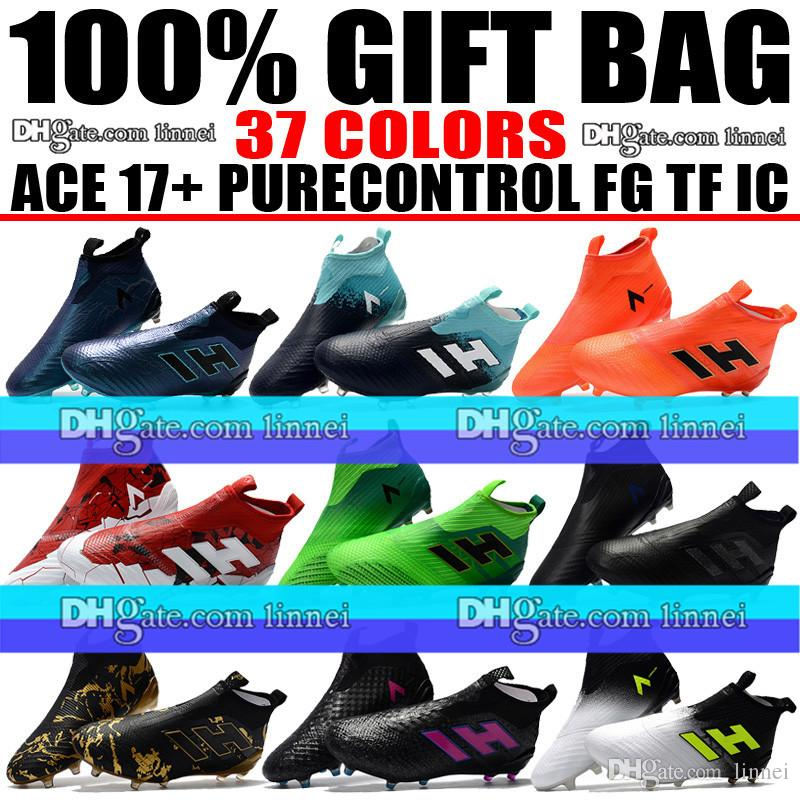 d541f5e3aa07 Cheap Sale Laceless ACE 17 Purecontrol FG Soccer Boots High Ankle ACE Pure  Control Indoor TF IC Soccer Cleats Socks Trainers Football Shoes Desert  Boots ...