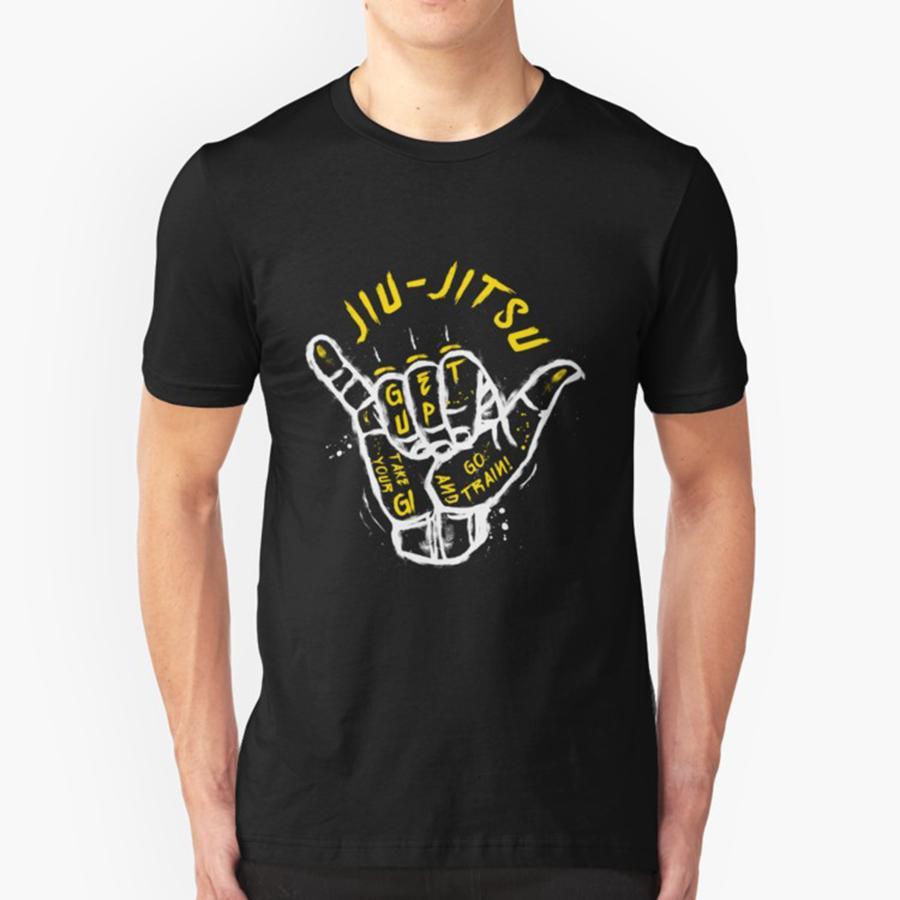 b37a4a89e T Shirt Gesture Jiu Jitsu Go Train Brazilian Jiu Jitsu BJJ Funny Man 100%  Cotton Short Sleeve Tees Popular Judo Teenage Men White Shirt Tee Shirts  From ...
