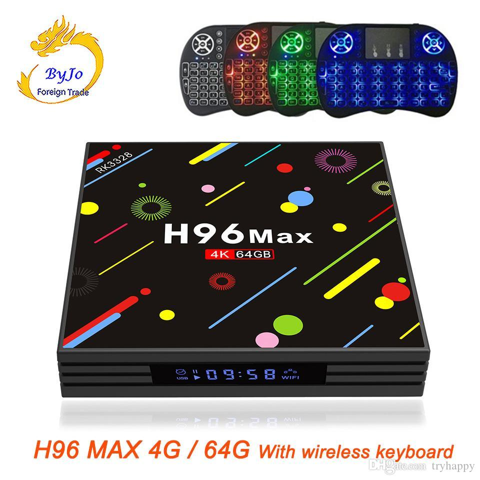 H96 MAX 4G RAM 64G ROM Android 8.1 smart TV box With wireless keyboard Rockchip RK3328 Quad-core Support H.265 UHD BT Iptv 4k ultra smart tv