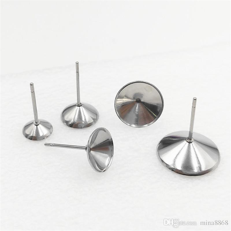 / 스테인레스 스틸 귀걸이 공백 / 기본 설정 맞춤 귀걸이 카보 숑, 귀걸이 설정 Earring Bezels Findigns