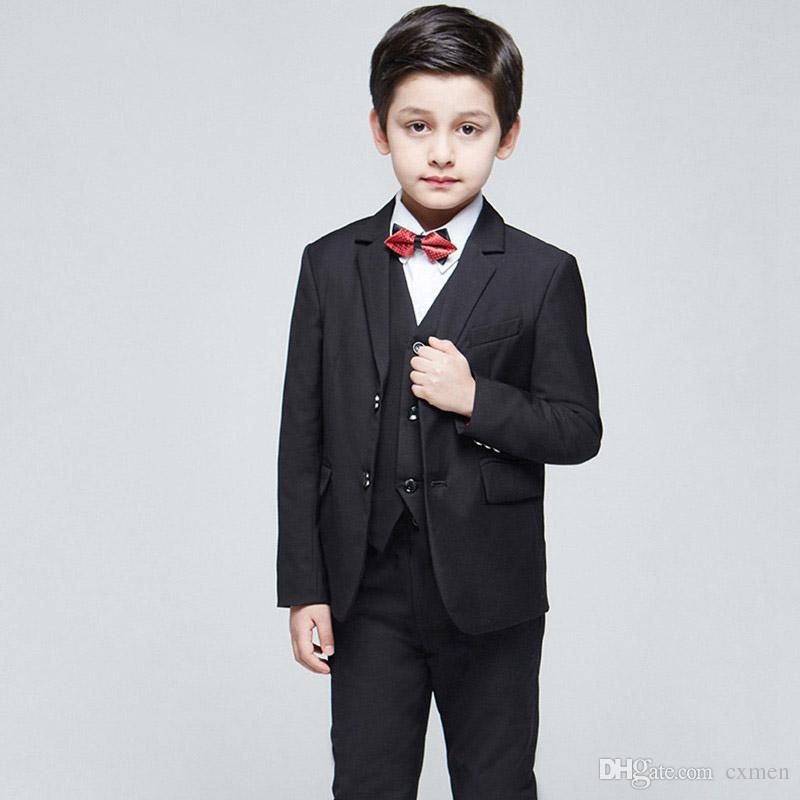 8a46e6bc2ba9d 2018 Black Wedding Suits for Toddler Boys Notched Lapel Blazers Groom  Tuxedos Navy Blue Bridegroom Prom 3 Pieces Jacket Pants Vest Party