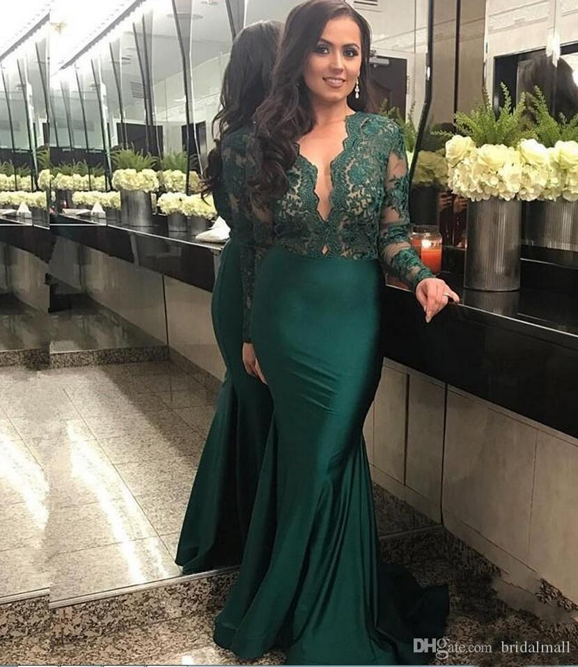 Lace Top Green Mermaid Abendkleider 2019 Sheer Long Sleeves Satin Abendkleid Elegant V-Ausschnitt Formale Party Kleider Benutzerdefinierte Robe de soirée