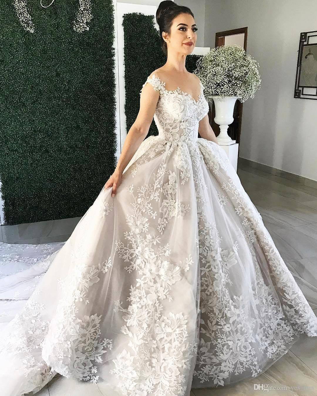 2019 Luxury Arabic Ball Gown Wedding Dresses Sheer Neckline Appliqued Lace 3D  Flowers Button Back Chapel Train Puffy Plus Size Bridal Gowns China Wedding  ... 33967856c6dd