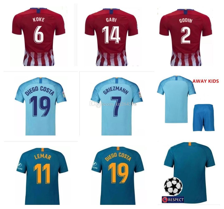 Nueva Camiseta FUTBAL Camisa Griezmann Jersey 18 19 Camiseta De Fútbol  Chandal Madrid Atlético Uniformes Kits Infantiles Lemar Koke Saul Godín Top  Por ... 8c8c7fdbc89