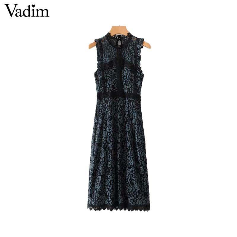 a1eee0b4c4ae3 Vadim women sweet ruffles Lace midi dress sleeveless back zipper see  through office wear casual chic dresses vestidos QA679