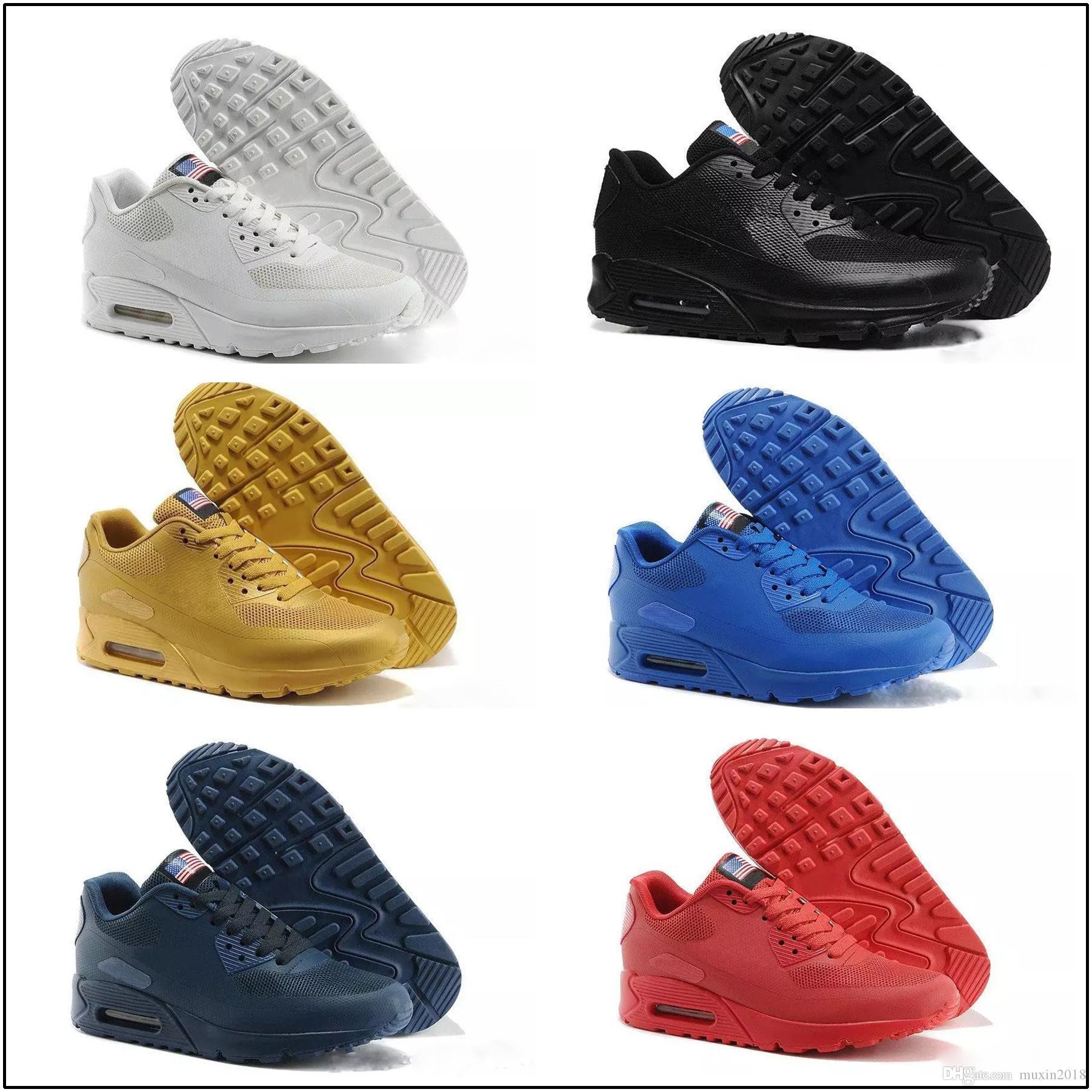 pick up 69d46 c0860 Compre Nike Air Max 90 HYP PRM QS Zapatillas Deportivas Alr 90 HYP PRM QS  Hombre Mujer Alr 90s Bandera Americana Negro Blanco Azul Marino Oro Plata X  A M ...