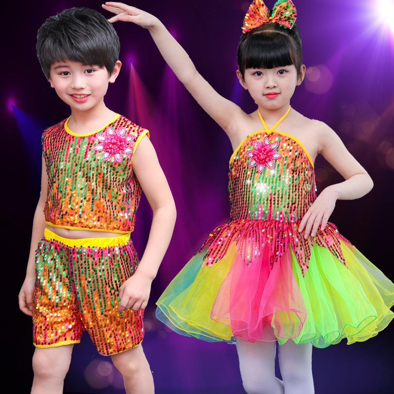 b34572d2e5568 2019 Child Sequins Jazz Dance Colorful Dress Ballet Costumes For Girls  Kindergartens Ballroom Modern Dance Tutu Stage Wear Boys Suit From  Glorying, ...