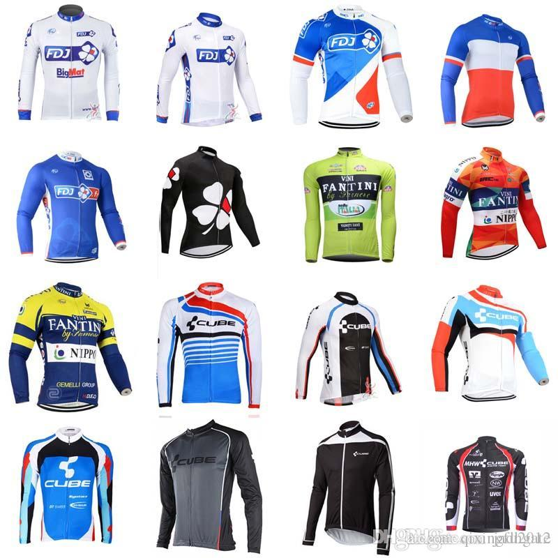 CUBE FDJ team Cycling long Sleeves jersey 2018 New arrivals bike clothes  Multiple Choices Simple Men Long Sleeve D1004