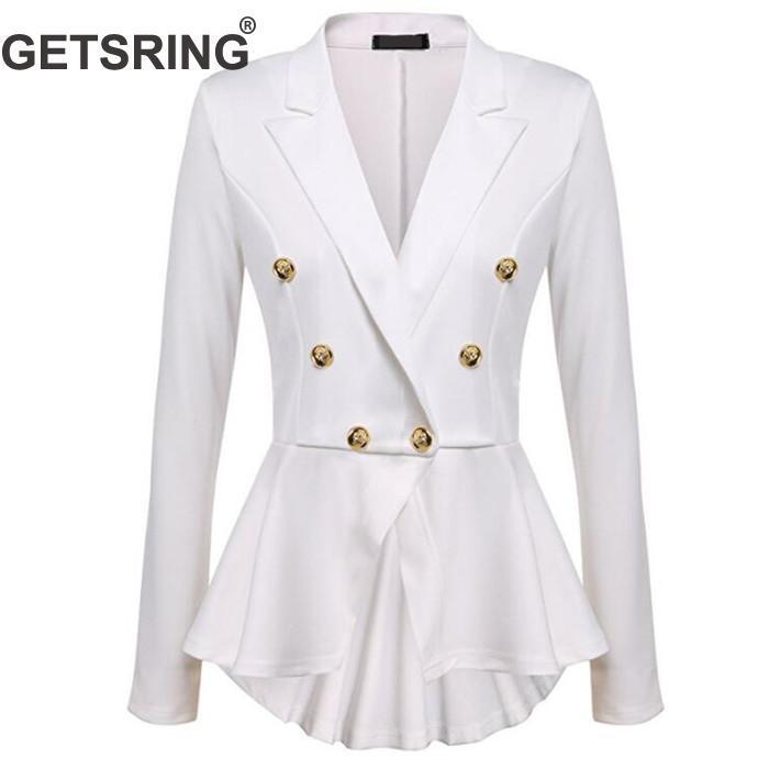 2019 Getsring Ladies Blazer Jacket Double Breasted Blazer Women Long