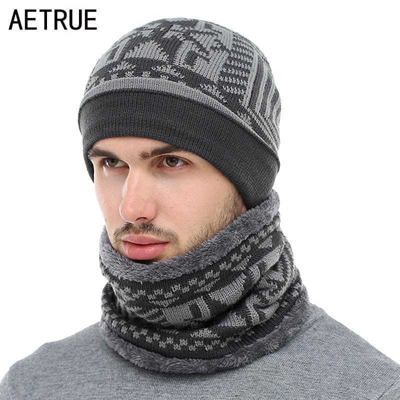 1ca25a6038578 Acheter AETRUE 2018 Skullies Bonnets D'hiver Chapeau Tricoté Bonnet Écharpe  Hommes D'hiver Chapeaux Pour Hommes Femmes Casquettes Gorras Bonnet Masque  ...
