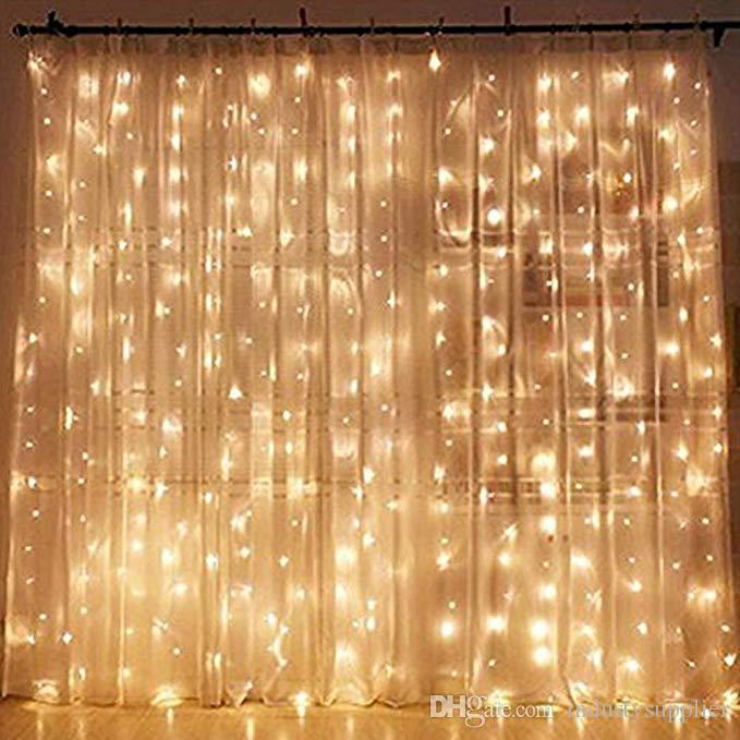3f45c65891e Compre Luces De La Cortina De La Navidad De La Boda Luces Del Centelleo Del  LED Luces De Cortina Blancas Cálidas Para La Fiesta Luces De La Navidad De  La ...