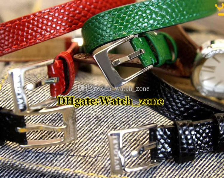 27mm Serpenti 102780 Vermelho Dial Swiss Quartz Assista Mulheres Caso Siver Diamante Bisel Pulseira De Couro Vermelha de Alta Qualidade Senhora Relógios