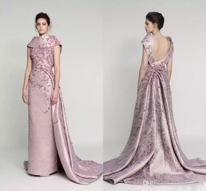 Azzi & Osta Vintage Pink 3d Floral Overskirt Long Prom Dresses 2018 ...