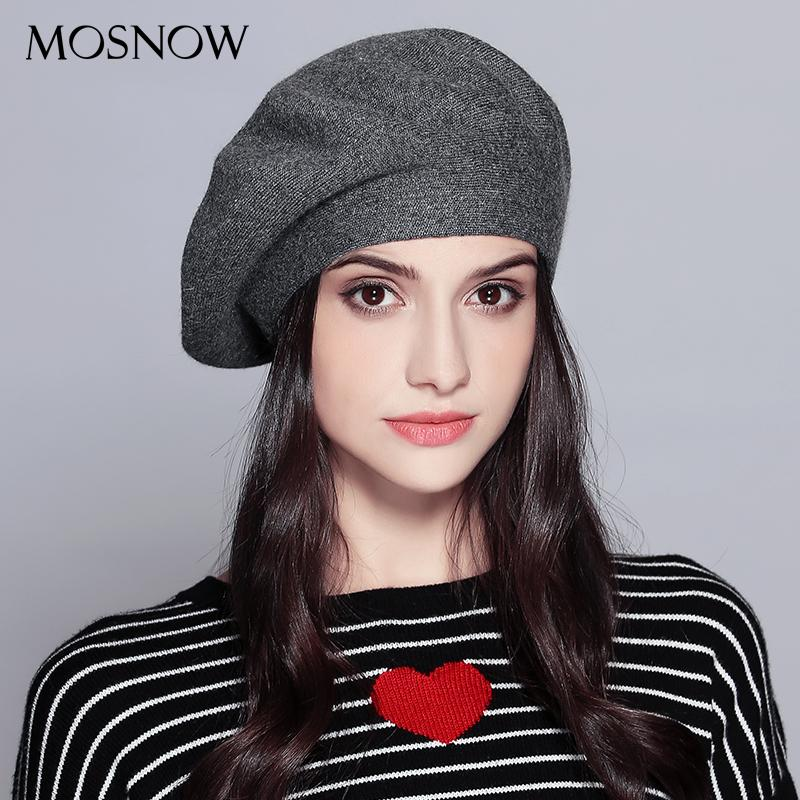 2019 MOSNOW Women Beret Vogue Hat For Winter Female Knitted Cotton Wool Hats  Cap Autumn 2017 Brand New Women S Hats Caps  MZ729 From Handofart 07f5551ad9a6
