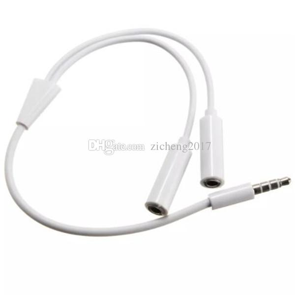 3.5 mm 1 Male to 2 Dual Female Headphone Audio Plug Y Splitter Adapter Cable Earphone Headset Jack for iphone Samsung