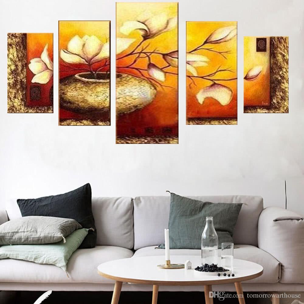 "5 Panel 36""*60"" Flower & Pot Hand Painted Oil Painting Unframed Canvas Wall Picture Wall Decoration Paintings Beautiful Room Decoration 90*1"