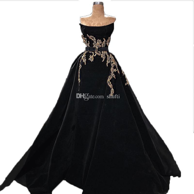 ce2b56ec33 Evening Dresses 2018 Formal Evening Dress Strapless Sashes Golden Beaded  Prom Dress Black Velvet Ball Gown Sweep Train Evening Dresses
