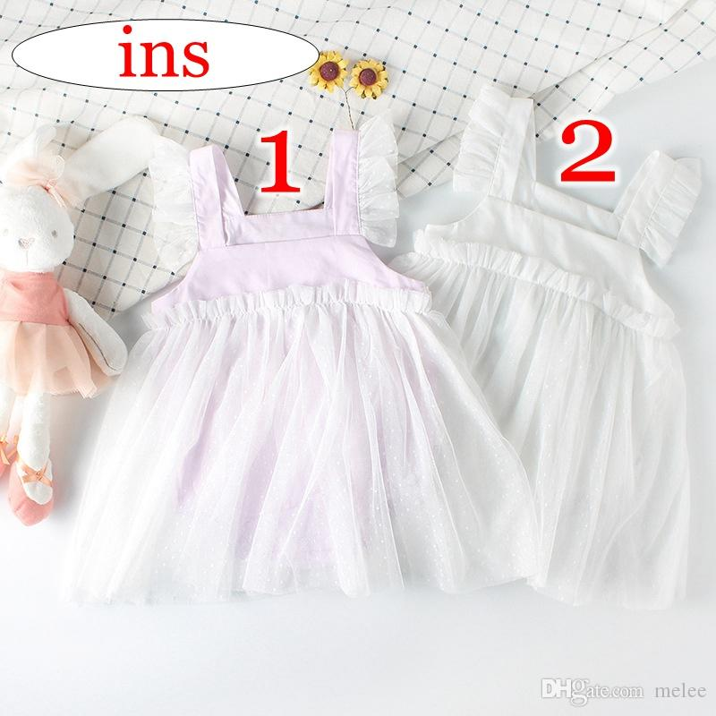 91a5c88011b4 2019 Summer Ins Girls Cotton Lace Fly Sleeved Ruffle Rompers Kids Newborn  Embroider Floral Print Tutu Dress Skirt Purple Pink   White From Melee
