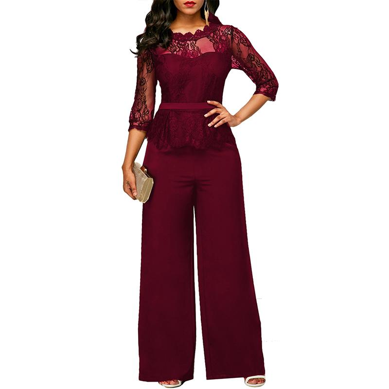 9a7cc1e42869 2019 Spring Casual Elegant Lace Women Jumpsuits Wide Leg Long Sleeve Hollow  Out Slim Work Office Rompers Macacao Feminino From Clothesg220