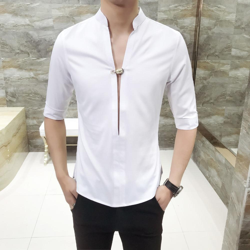2019 Quality Men Dress Shirt Korean Slim Fit Solid Party Shirts Mens