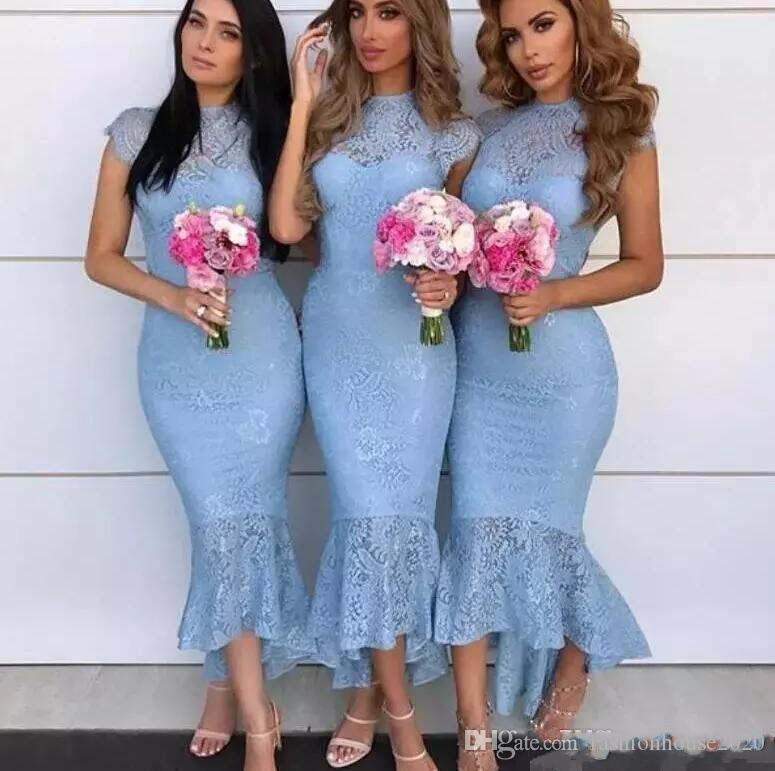 2018 Sky Blue Country Mermaid Bridesmaid Dresses Jewel Cap Sleeves High Low Tea Length Full Lace Arabic Wedding Guest Maid of Honor Gowns