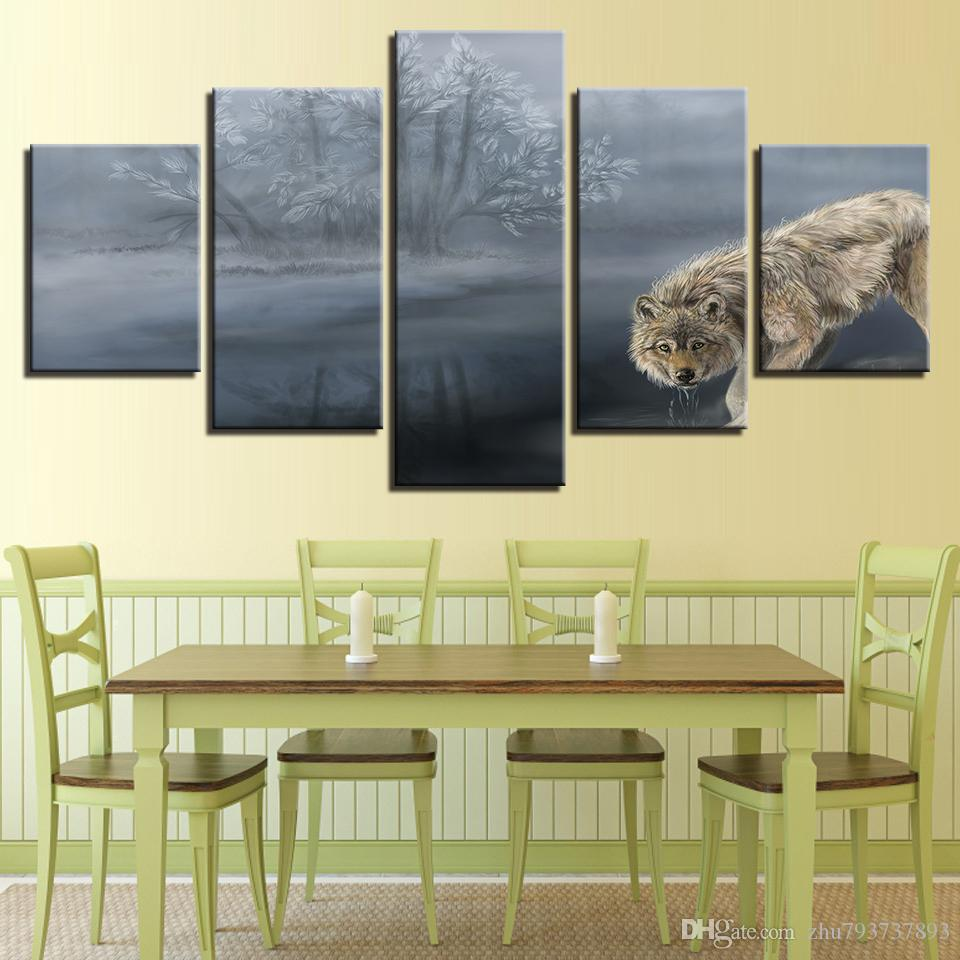 2018 Canvas Painting Animals Wolf Tree Lake Landscape Pictures ...