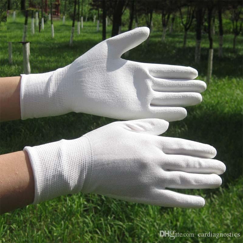 النخيل الأبيض بو المغلفة قفازات سلامة العمل الأبيض مكافحة ساكنة قفازات النايلون البوليستر مكان العمل السلامة بالجملة