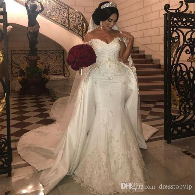 9431f687e8f African Overskirts Wedding Dresses 2019 Plus Size Lace Appliques Off The  Shoulder Mermaid Wedding Dress Beads Sequins Plus Size Bridal Gowns Plus  Size ...