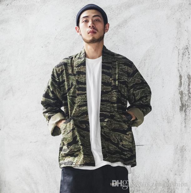 364fd98745d Japanese Camo Kimono Jackets Japan Style Mens Hip Hop Camouflage Casual Open  Stitch Coats Fashion Streetwear Jacket Ohio Hockey Team Nhl Outerwear Men  From ...