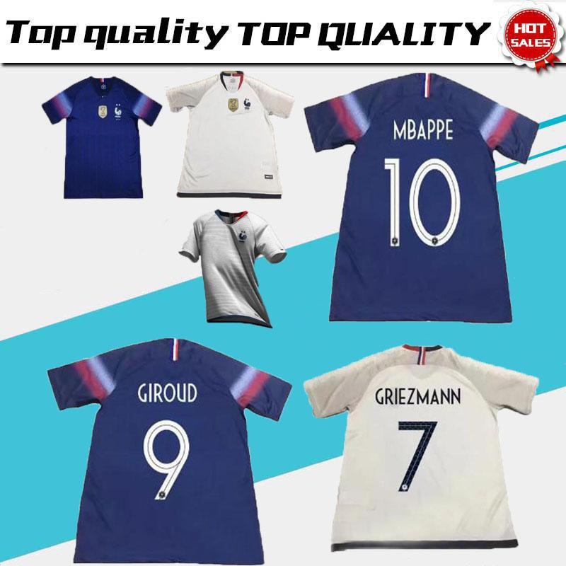 2914e063914 19/20 2 Stars World Cup Jersey GRIEZMANN MBAPPE POGBA France Home Away Blue  And White Soccer Jersey Two Stars DEMBELE MARTIAL Football Shirt France  Soccer ...