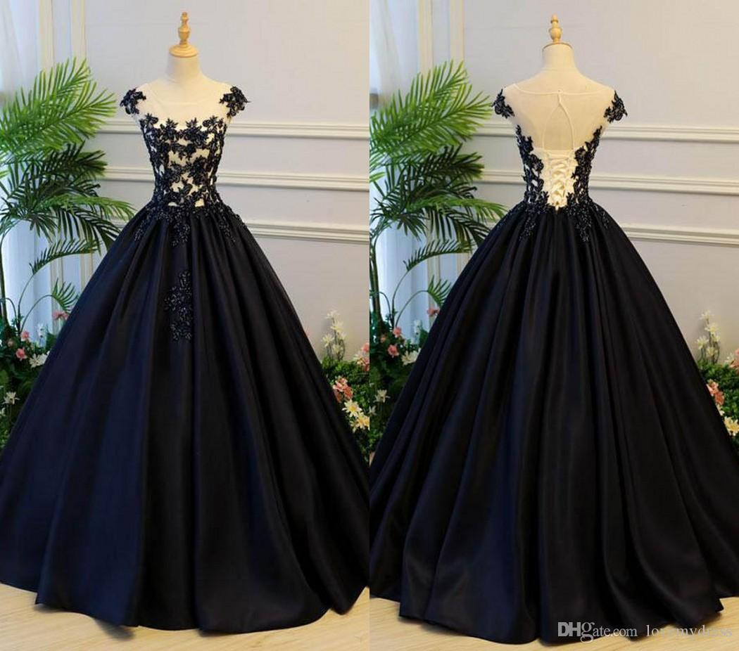 0e1c1357c85 2018 Sexy Black Satin Quinceanera Dresses Long Cheap Jewel Sheer Neck  Applique Lace Ruched Sequin Sweet 16 Dresses For Girls Prom Dress Mermaid  Quinceanera ...