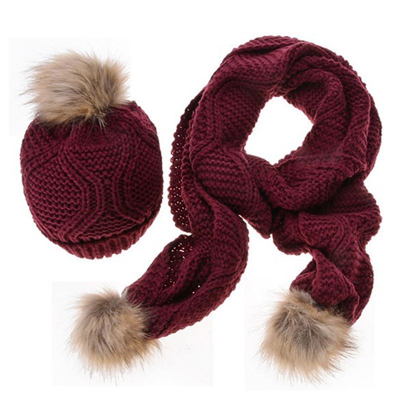 100% autenticato in vendita ineguagliabile nelle prestazioni Sciarpa e cappello di disegno geometrico di 170 centimetri imposta inverno  caldo sciarpe lunghe per le donne ragazze pompon di pelliccia Berretti Hat  ...
